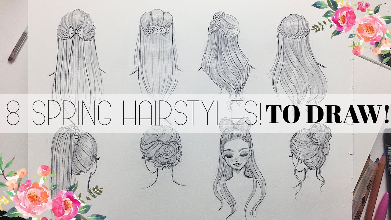 8 HAIRSTYLES TO DRAW || Spring & Easter Inspired 🐰🌸 - YouTube