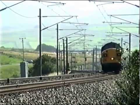Class 37 heads north at Scout Green on a short freight. 1998.