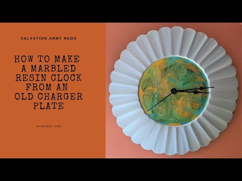 How to Make a Marbled Resin Clock from an old Charger Plate