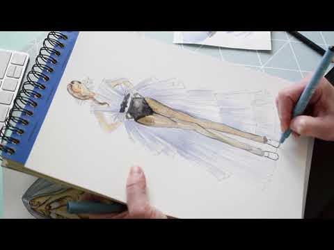 Fashion Illustration With Watercolor. Interpretation Of The Look Giambattista Valli.