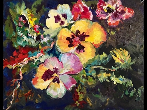 How to Paint Pansies  with Ginger Cook's Impressionism for Beginner Acrylic Painting Tutorial