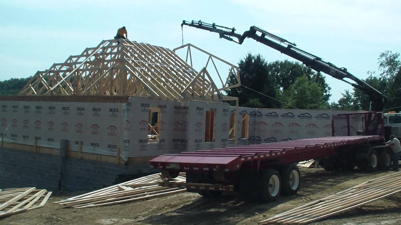 Setting house trusses youtube for Where to buy trusses