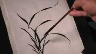 How to draw Orchid in Chinese brush painting or Sumi-e
