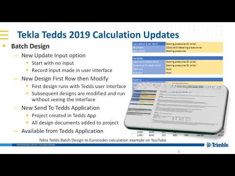 Batch design improvements in Tekla Tedds 2019