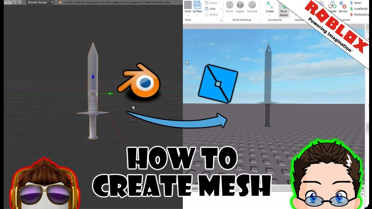Catalog Import Tool Roblox Roblox Studio Create Your Own Mesh With Blender Youtube