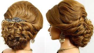 Prom updo, bridal hairstyle for  long hair tutorial.
