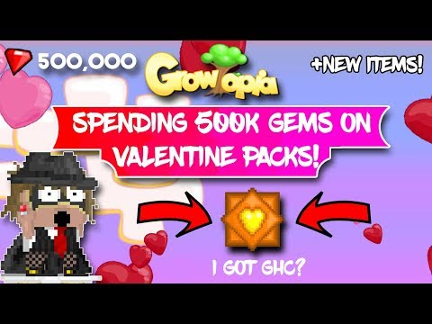 Growtopia  USING 500K GEMS ON VALENTINE PACKS! + NEW ITEMS (Valentine 2019)