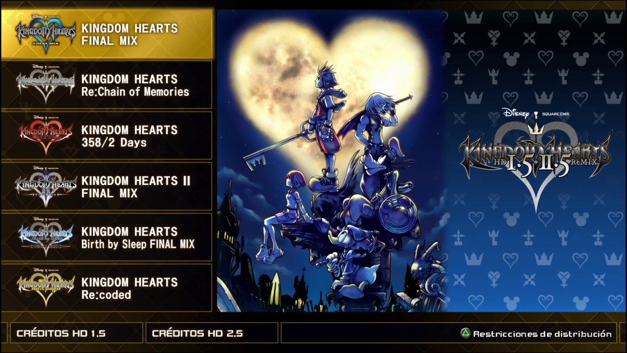 Menu De Seleccion De Juego Kingdom Hearts Hd 1 5 2 5 Remix Youtube