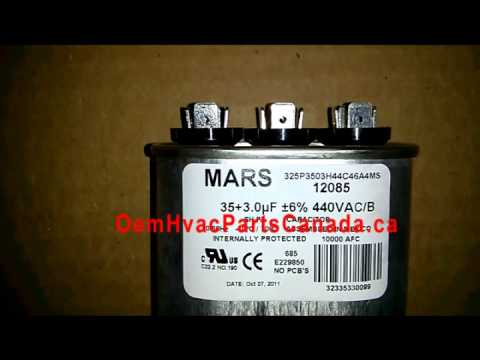 Mars Motor Run Capacitor 35 3 Mfd Oval 370 440 Vac Dual