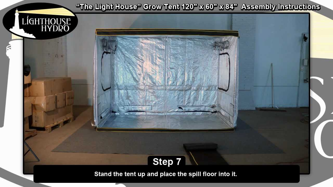 2012 Lighthouse Hydro Grow Tent - 10u0027 x 5u0027 x 7u0027 Assembly Instructions - YouTube & 2012 Lighthouse Hydro Grow Tent - 10u0027 x 5u0027 x 7u0027 Assembly ...