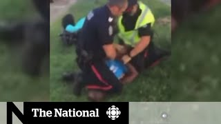 Knee-on-neck restraint used by Canadian police officers
