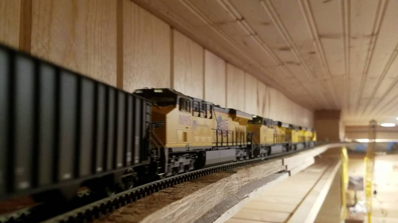 Long Ho Scale Coal Train Goes Around Ceiling Layout Youtube