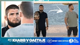Justin Gaethje throws away his belt during face off, points at Khabib's