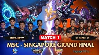 MSC SINGAPORE FINAL MATCH 1 : IMPUNITY VS ZHONG YI - Mobile Legends MSC