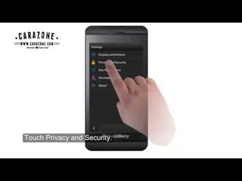 How to clear the cache cookies on blackberry Z10