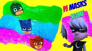 Make Your Own PJ Masks SLIME! DIY Easy Glitter Rainbow Slime Clay!