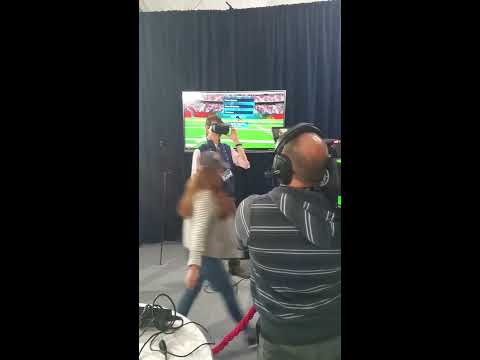Demoing Dimetime VR Football to Cooper Manning