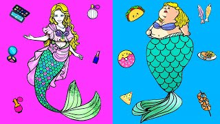 Paper Dolls Dress Up - Fat Mermaid Costumes Dresses Handmade Quiet Book - Barbie Story & Crafts