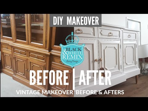 This vintage hutch made into gorgeous sideboard DIY MAKEOVER
