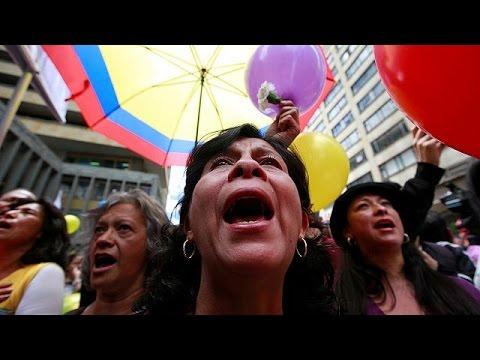 Celebratory scenes on the streets of Bogota