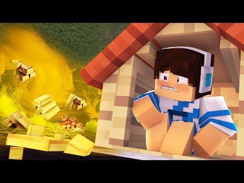 Minecraft: DESAFIO DA BASE 100% SEGURA CONTRA TSUNAMI DE OURO!!! (Tsunami base challenge)