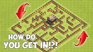 HOW DO YOU GET IN!?!😀NEW GIANT MAZE BASE!!😀Clash Of Clans