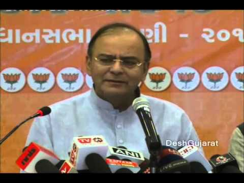 Shri Arun Jaitley meets the press in Ahmedabad, Gujarat ahead of the assembly elections