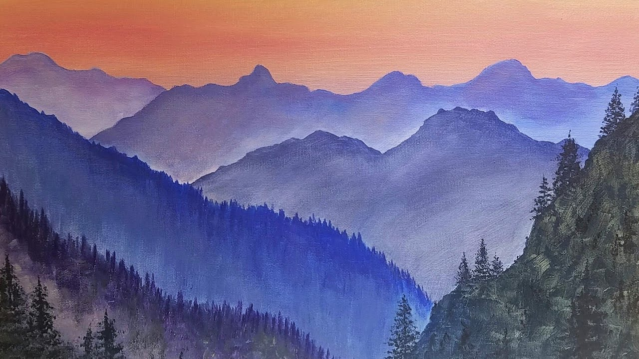 Simple Mountain Landscape Acrylic Painting Tutorial Live