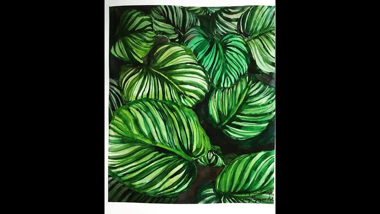 [Watercolor] Vẽ lá đơn giản bằng màu nước | Tropical leaves watercolor speed paint
