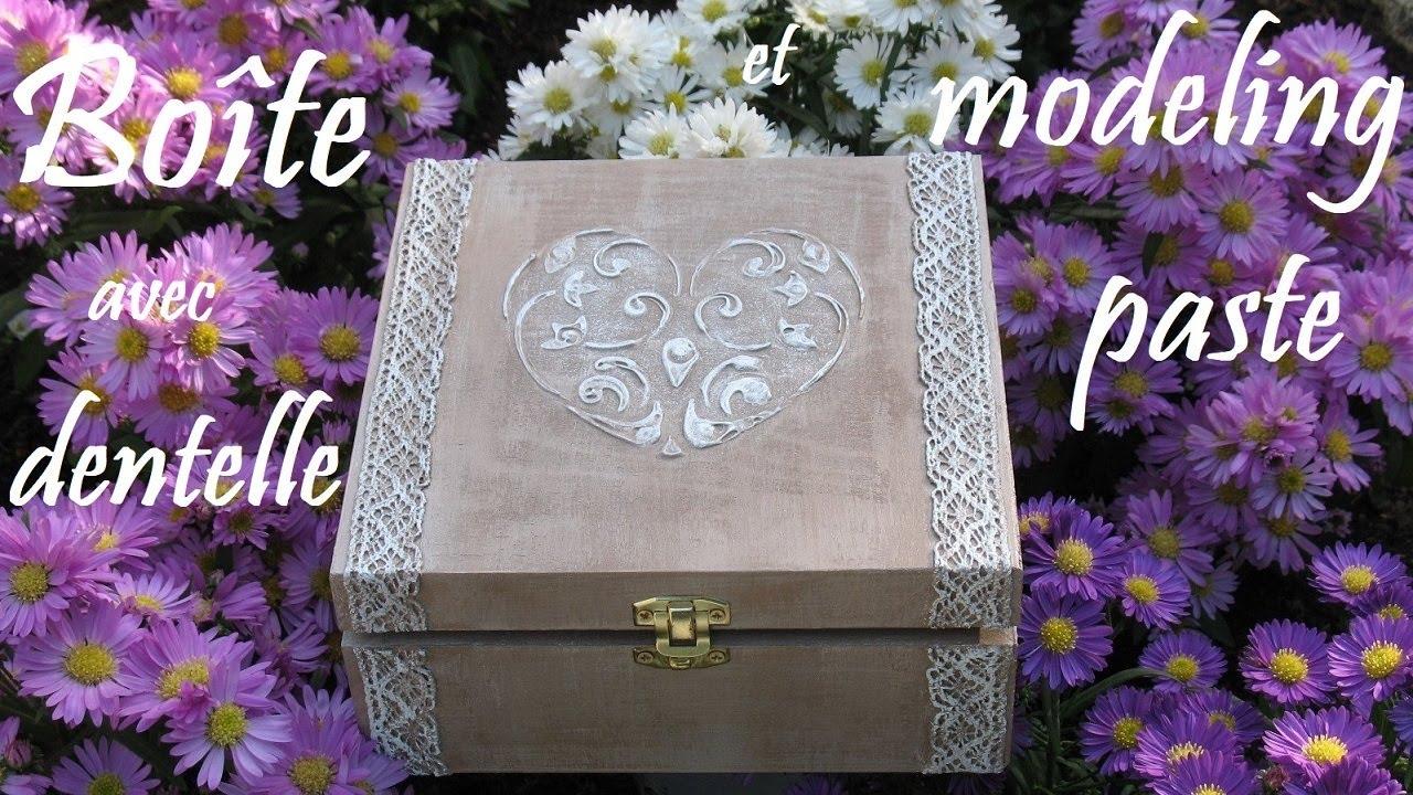 Art hobby video boite avec dentelle et modeling paste hd - Comment decorer une boite a mouchoir en bois ...