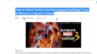 "How to Solve ""umvc3.exe has stopped working"" Error in Marvel vs Capcom 3 Game"
