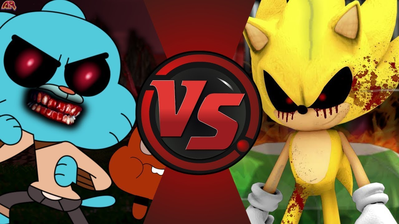 gumball exe vs super sonic exe amazing world of gumball vs sonic