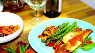 Pan Fried Sea Bass Recipe with Chargrilled Vegetables