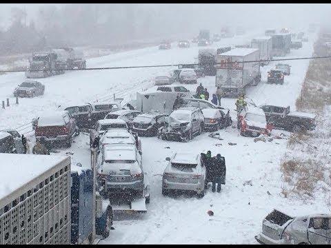 Massive Multi Vehicle Pile-Up (50 - 70 Cars, Buses & Trucks)