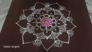 latest flower rangoli design without dots || creative flower design|| easy & simple rangoli design