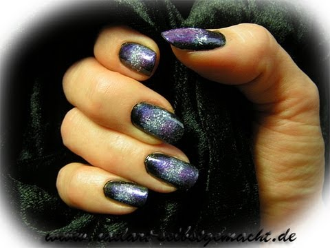 easy galaxy nail art stepstep purple black white  youtube