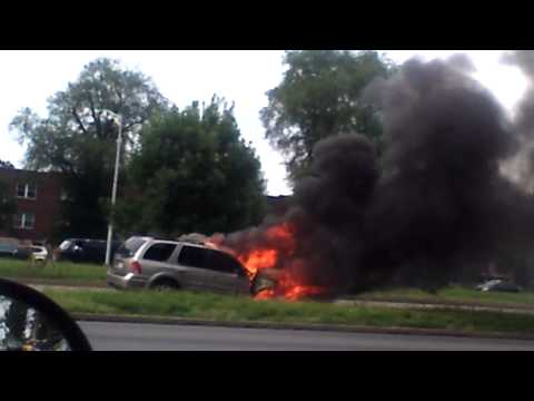 Car Fire at Roosevelt Blvd in Phily