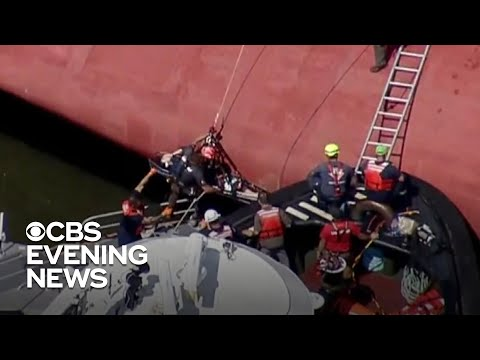 Mike and Mindy - ALL Crew Members Rescued from Overturned Cargo Ship!