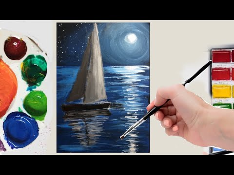 Acrylic Painting Of Moonlight Night Sky With A Lonely Ship Beginner/Intermediate Tutorial