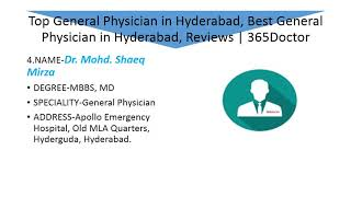 Top General Physician in Hyderabad, Best General Physician in Hyderabad, Reviews | 365Doctor