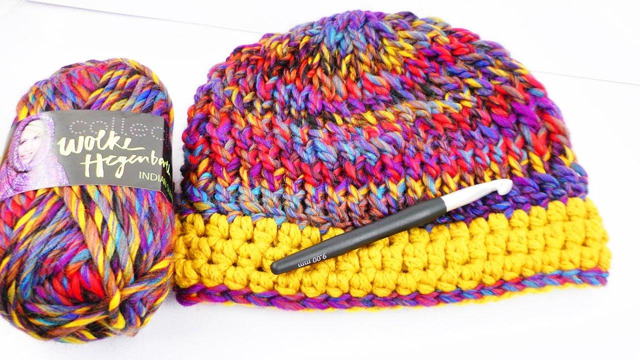 Bunte Winter Mütze Häkeln Reliefstäbchen Hstb Einfach