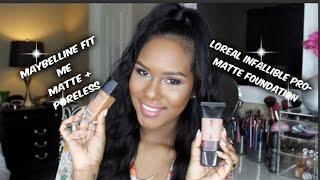 Loreal Infallible Pro Matte vs Maybelline Fit Me Matte + Poreless Foundation Review & Demo