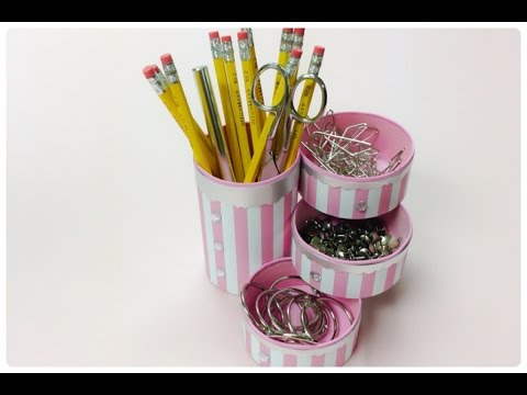 DIY crafts:How to recycle tin cans to make a pencil holder or desk organizer