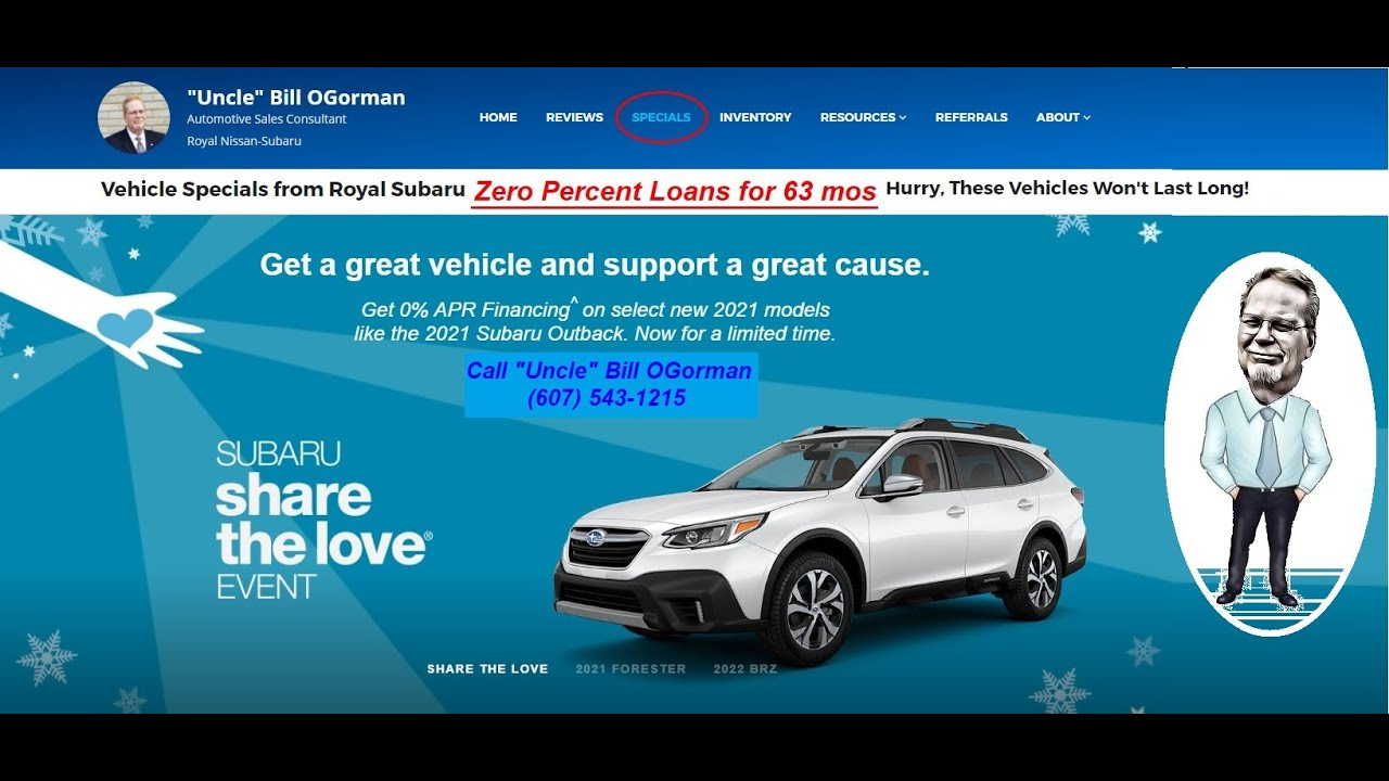 Blog Zero Percent Yes And Interest Free Loan On The 2021 Subaru Outback With Royal Subaru And Uncle Bill 61433 Uncle Bill Ogorman Royal Nissan Subaru