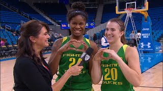 Ruthy Hebard, Sabrina Ionescu reflect on No. 9 Oregon\'s key win over No. 14 UCLA