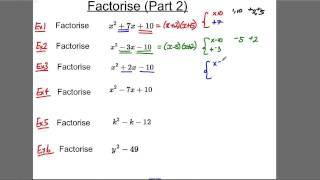 GCSE Revision Video 7 - Factorise (2)