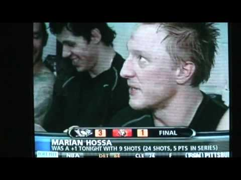 Evgeni Malkin and Ryan Malone talking in the background of Hossa 4/16/08