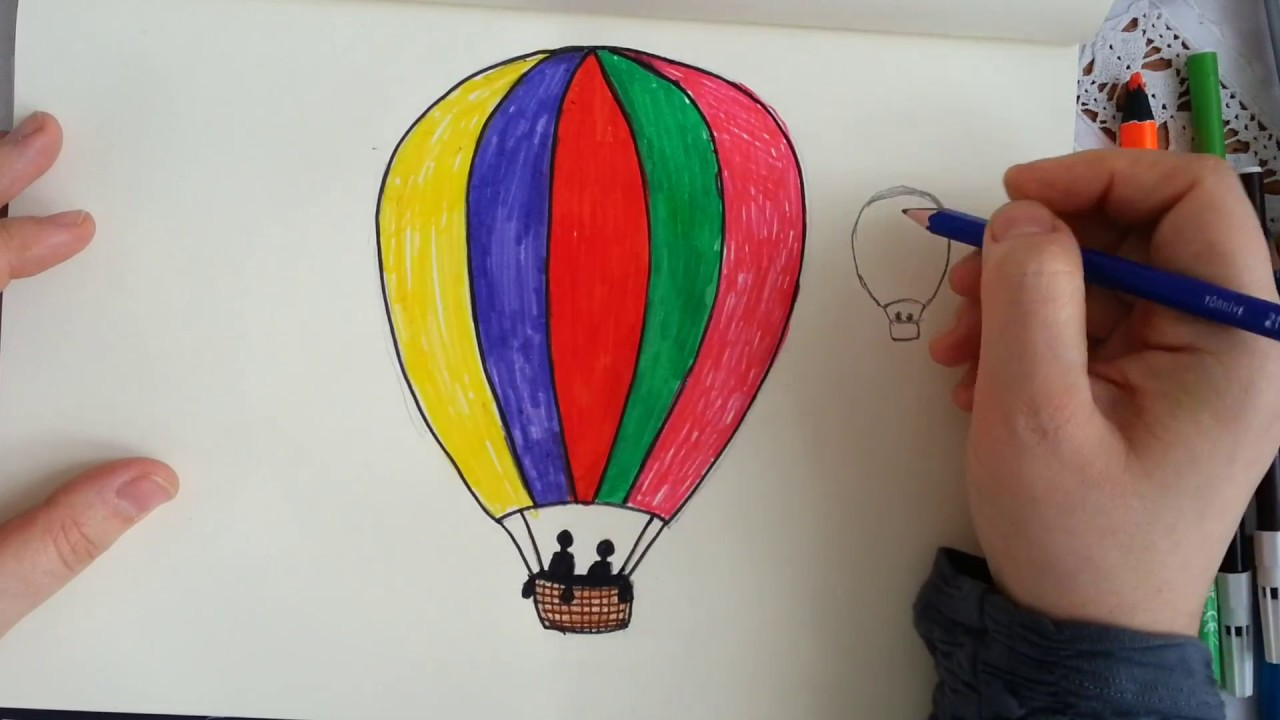 Uçan Balon çizimi How To Drawing Flying Balloon Youtube