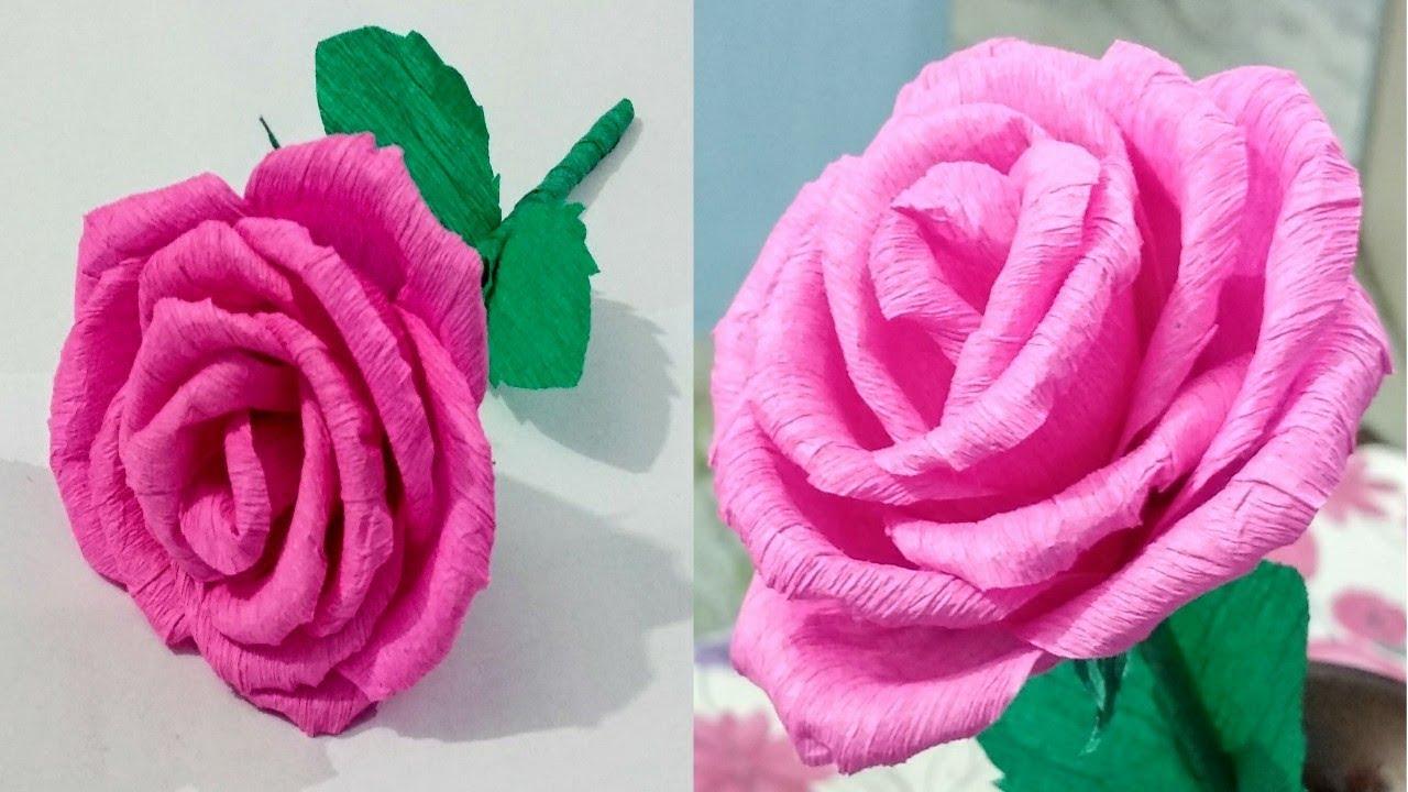 Diy paper rosecrepe paper flower making tutorial paper craft youtube diy paper rosecrepe paper flower making tutorial paper craft mightylinksfo