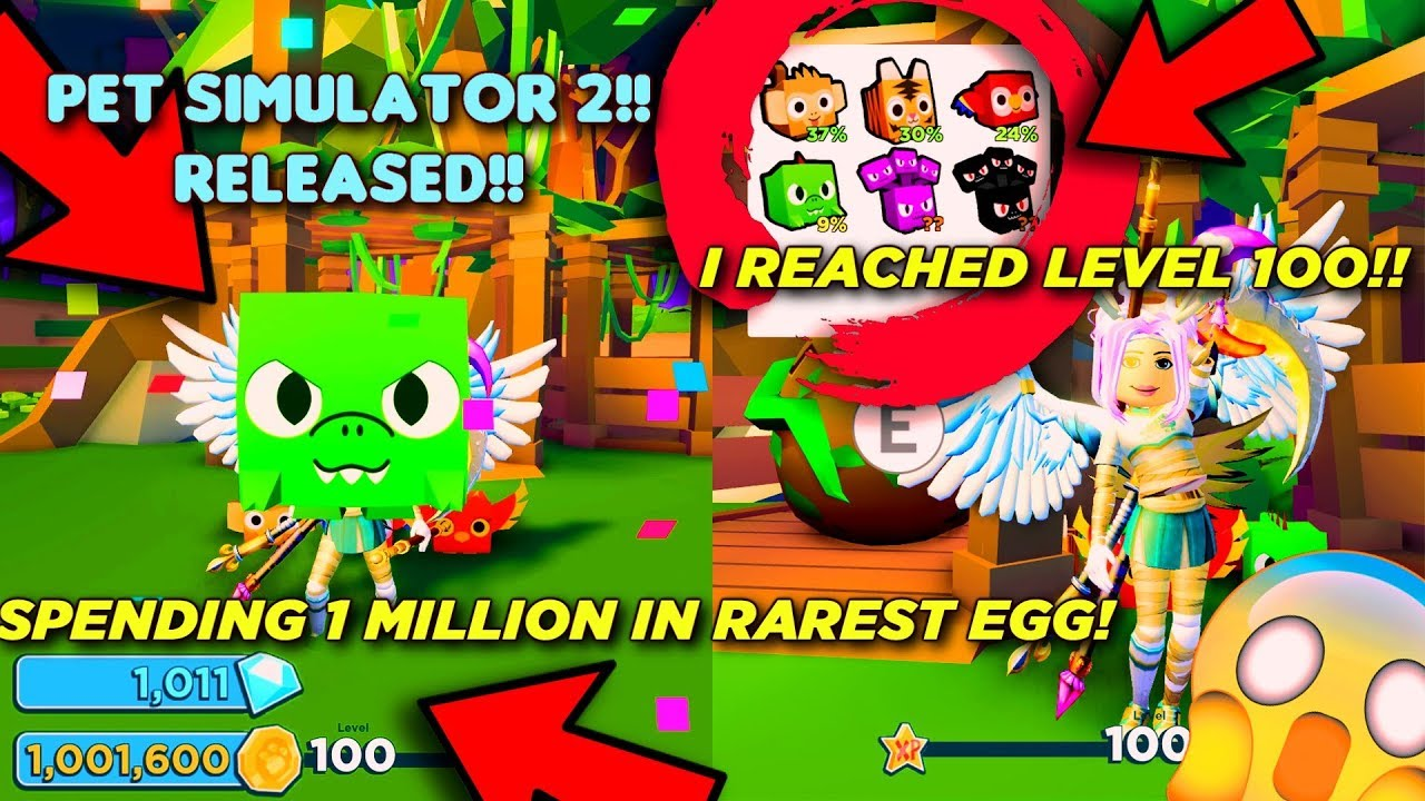 Spending 1oooooo Coins On Jungle Egg And I Achieved Level 100 In Pet Simulator 2 - i hatched the new rarest pet unlocking all new swords limited eggs in ninja legends roblox